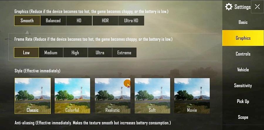 فعال کردن تنظیماتی مهم در بازی پابجی موبایل