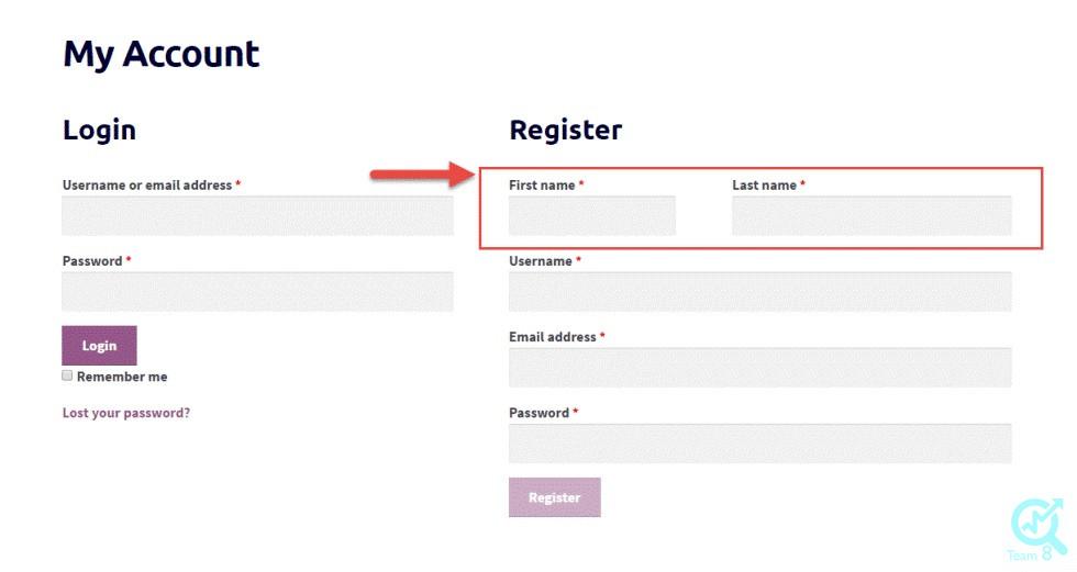 تغییر فرم ثبت نام در ووکامرس