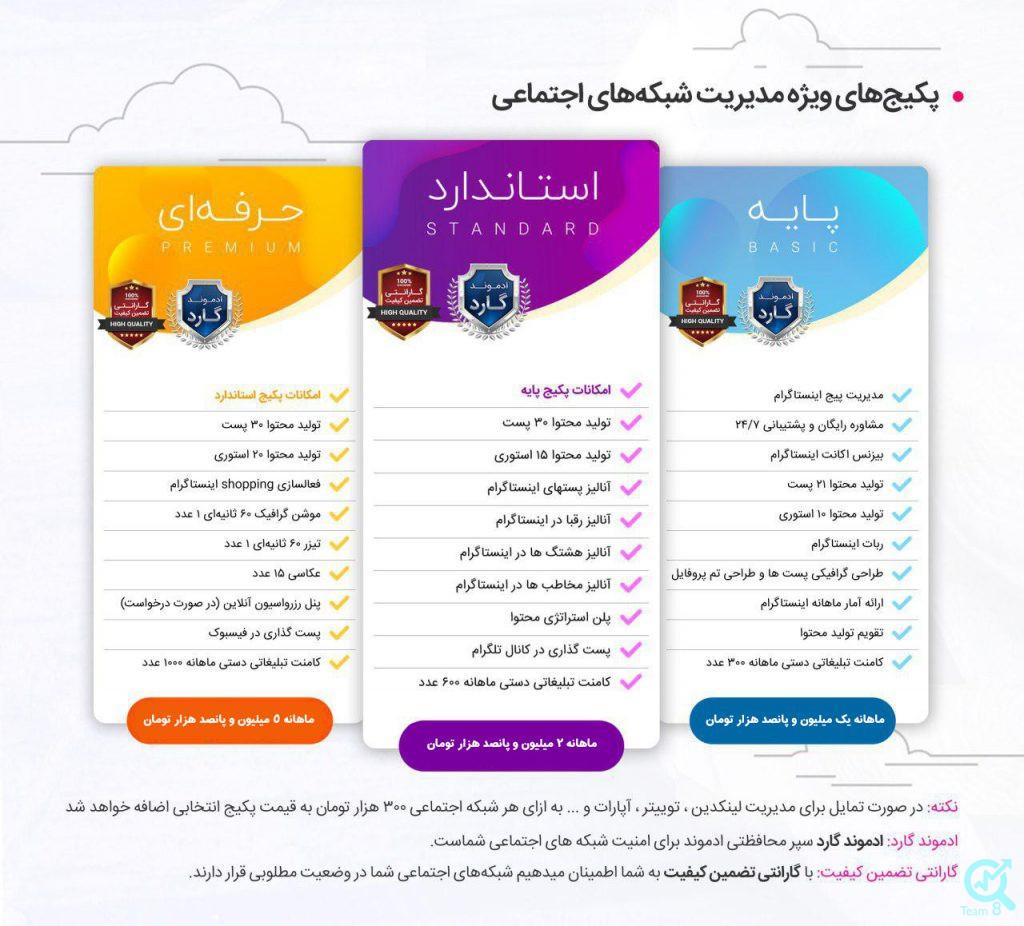 قیمت پکیج مدیریت اینستاگرام