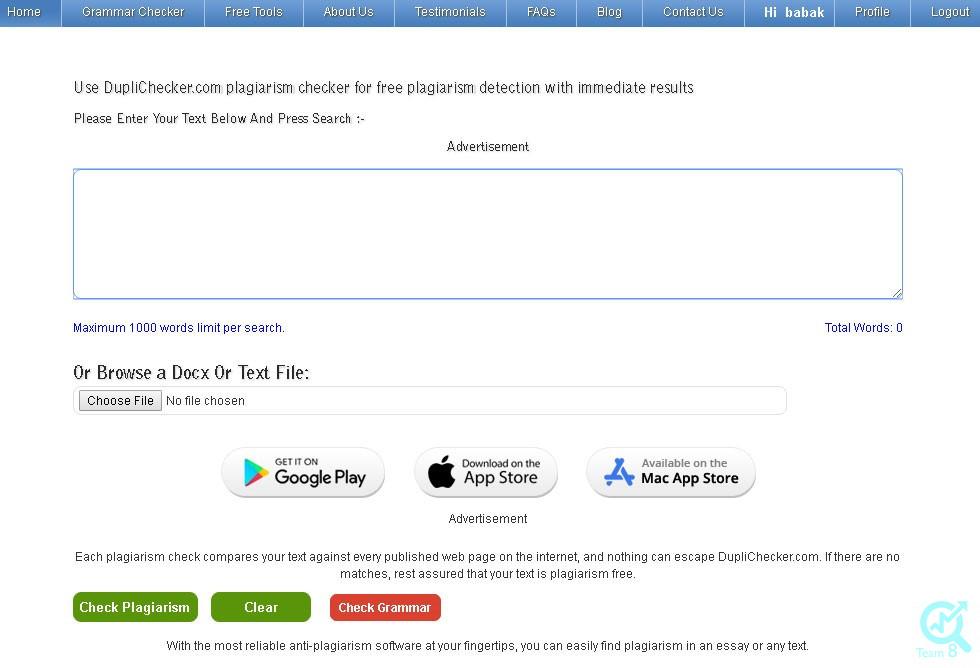 بررسی یک محتوا دریافتی با کمک ابزار Duplichecker :